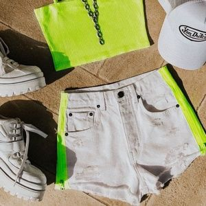 NWT Carmar white denim shorts neon stripe